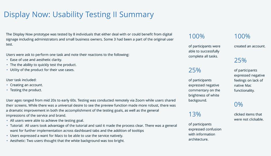 Usability Testing summary