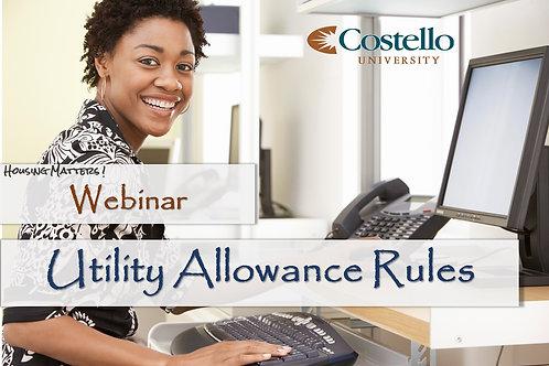 Utility Allowance Rules - Recorded Webinar