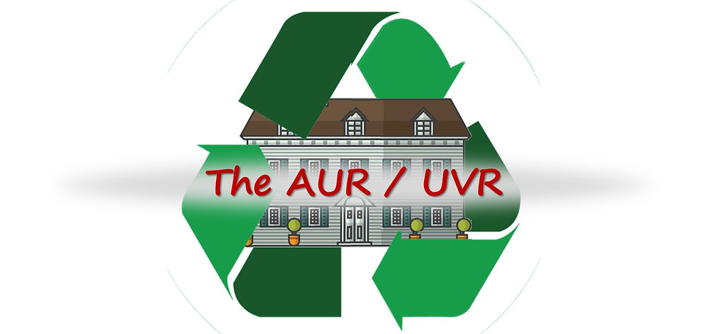 Recycle symbol and apartment building