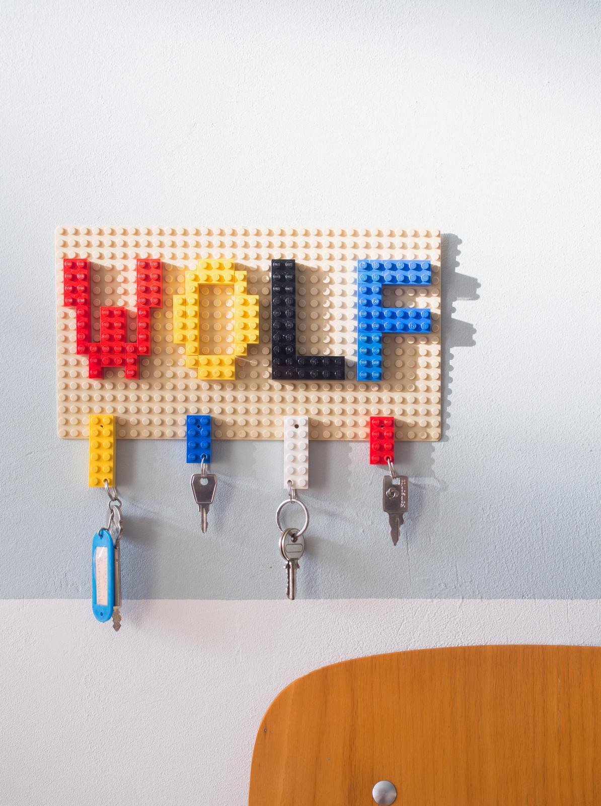 diy schlüsselbrett aus lego