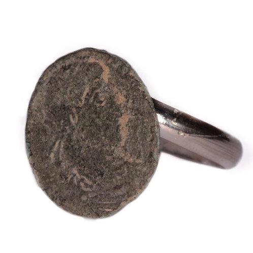 Anillo moneda romana auténtica siglo IV
