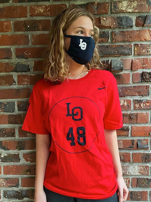 """Red """"LO48"""" Tee"""