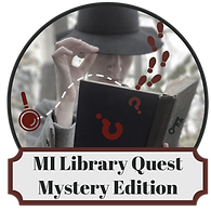 MiLibraryQuest logo with mysterious figure holding an open book with footprints and question marks