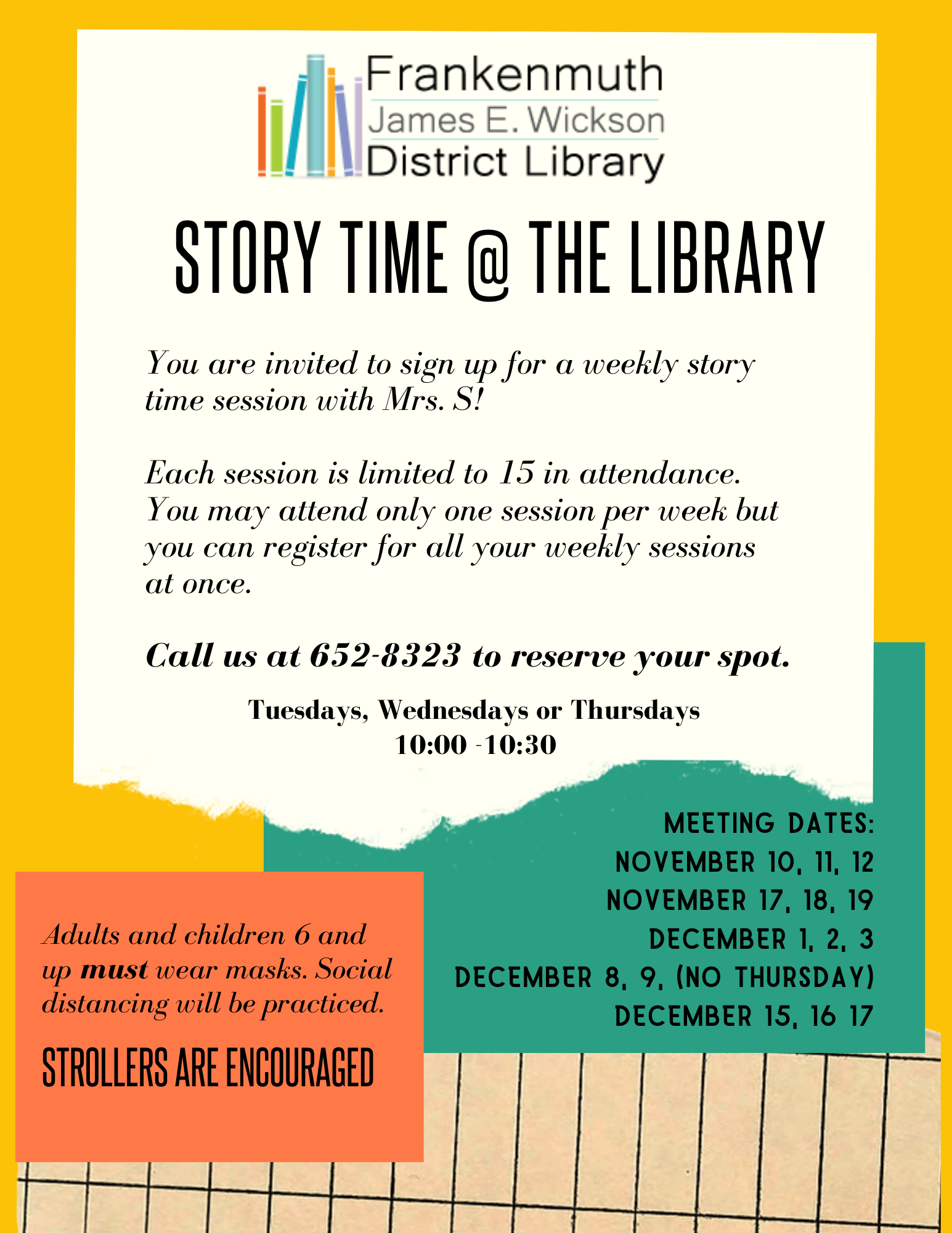 Story Time @ The Library fall 2020