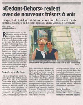 Charente Libre sur le parcours Dedans-Dehors à Cognac