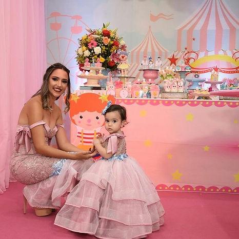 Vestido mãe e filha atelier leo xavier/ tema circo/ vestidos de festa/ exclusivo/ vestido 1 aninho