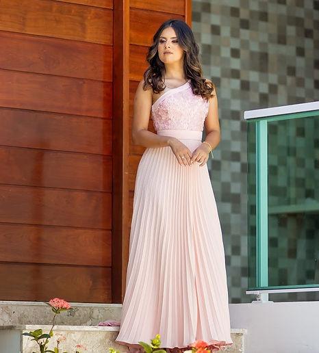 Vestido festa rosa chá com saia plissada/ Atelier Leo Xavier/ guipure/ renda/ vestidos de festa/ glamour/ dress