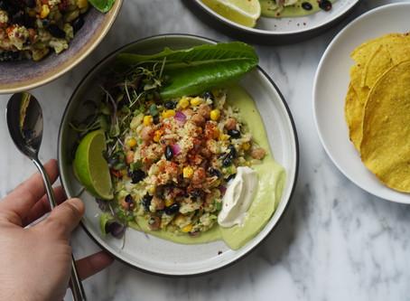 Quarantine Grain Bowl with an avocado dressing recipe