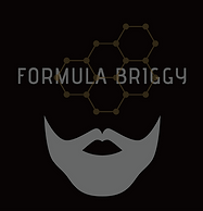 FORMULA BRIGGY Logo. Black, white grey and gold