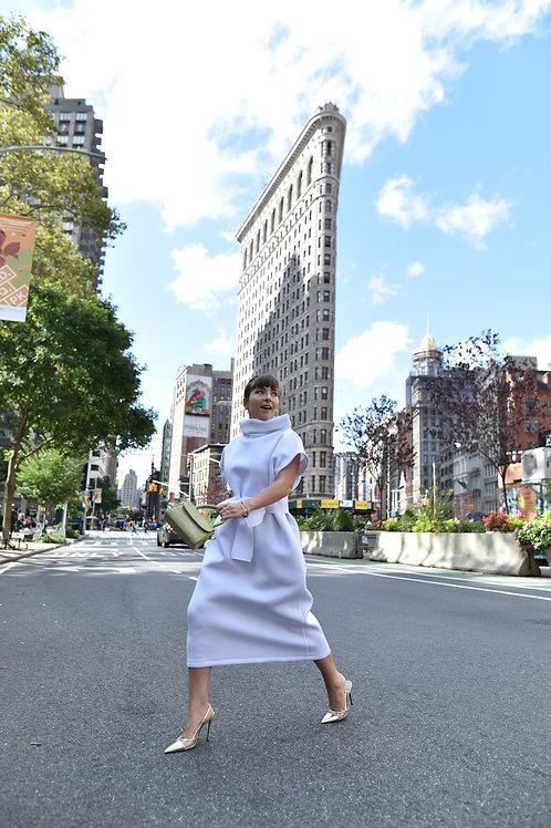 WHITE SCUBA DRESS SHORT SLEEVES
