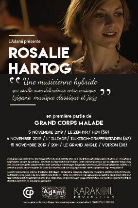 Après plus de 499 concerts ou enregistrements comme violonistepourCorneille, Aznavour, Fraissinet, BabX, Kadosch, Serra, Legrand, Allio, et aucinéma, Labrune, Boukrief, Lelouch, Rivette, Téchiné, Rosalie Hartog, lasse du name droppping, rejoint les quatuors à cordes Ivana, Accordo, puis compose et chante - enfin - dans Balval (3 albums) et le duo Rouge Tandem.   Tzigane ? Classique ? Jazz ? Cette musicienne hybride extrait de son cocoon sa sève « Bleus », touchant premier battement d'elle, qui invite en zones de turbulences tel un papillon au milieu des bombes pour nous cueillir où, d'habitude, on ne s'y étend pas.  Ses arrangements ciselés pour trio à cordes singulier, sa voix sur le fil de soi, font écrins à l'enfermement, l'invisible, les métamorphoses...  Au fond, le bon goût du tabou au service d'un talent sûr de ses formes teintées d'humour qui jure. Coeurs purs s'abstenir.