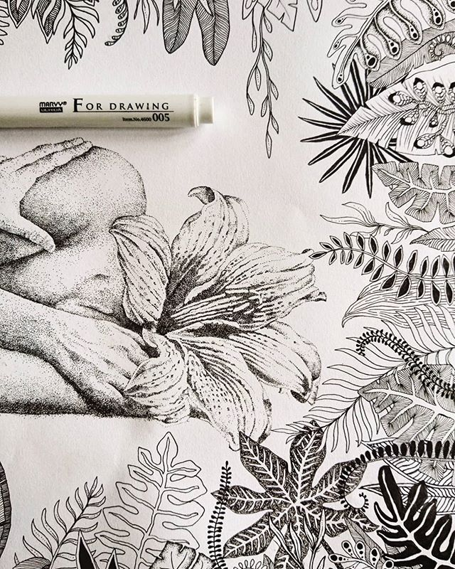 Finished! 😊 🤓🦑#inbloom #flowerpower #artist #art #drawing #ink #flowers #plants #botanical #kunst