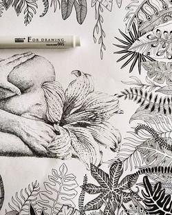 Finished! 😊 🤓🦑#inbloom #flowerpower #artist #art #drawing #ink #flowers #plants #botanical #kunst