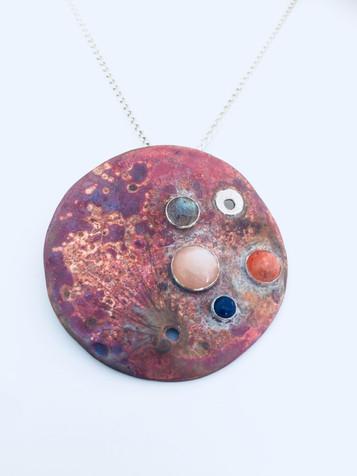 Planet Mars / Moon Talisman necklace.
