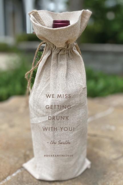 Custom Engraved Linen Wine bag