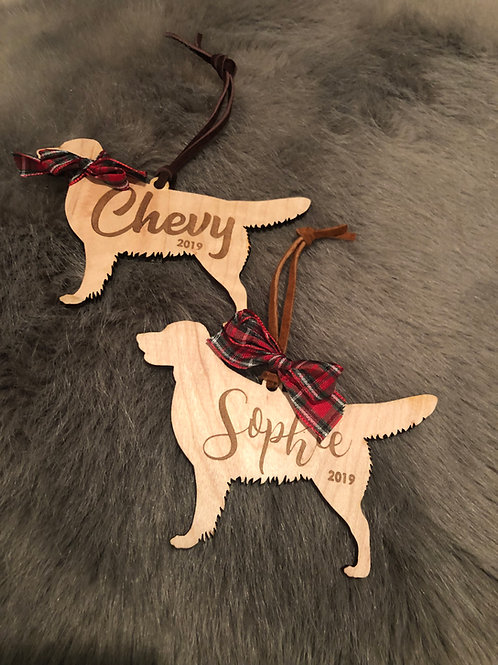 Custom Wood Dog Silhouette Ornaments
