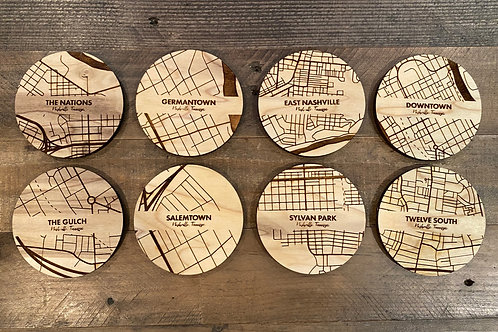 Map Coaster Set (4) - Nashville Neighborhoods