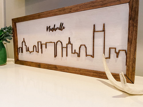 Nashville Skyline Framed Wood Sign