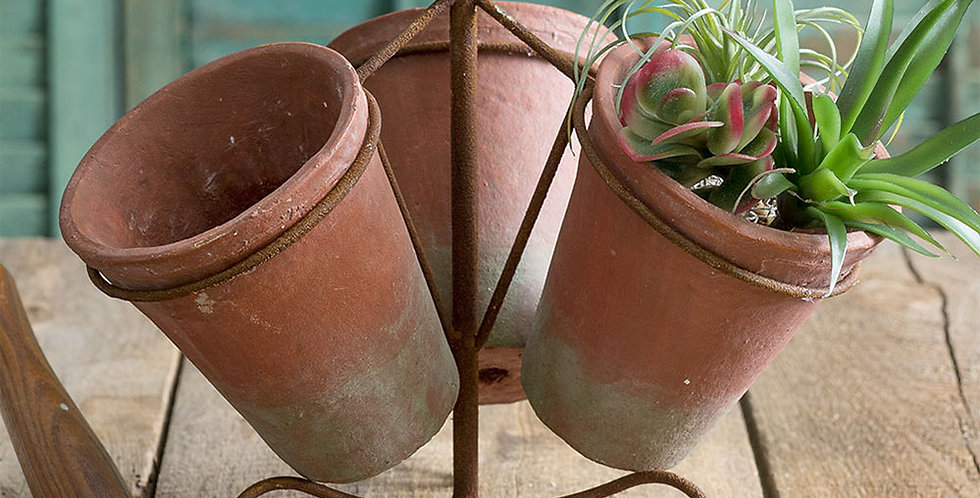 Triple Terra Cotta Pot Caddy