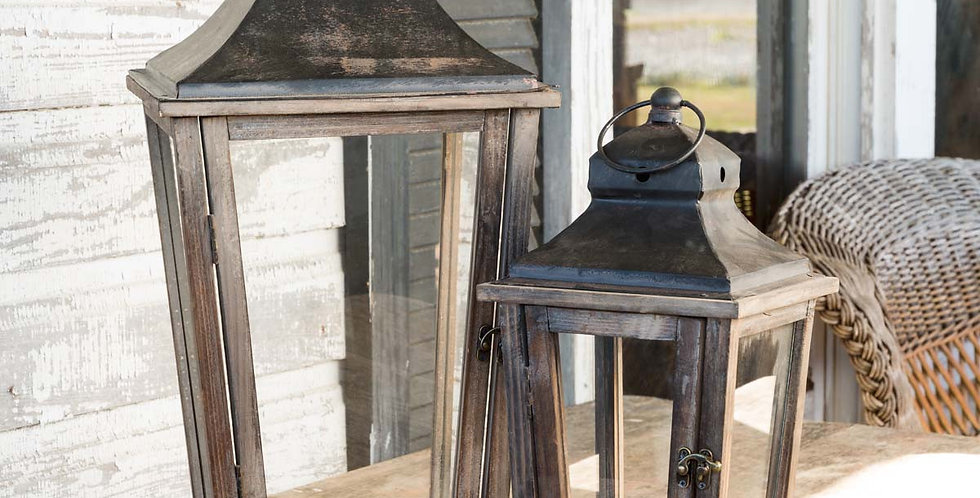 Black Top Weathered Wood Lanterns