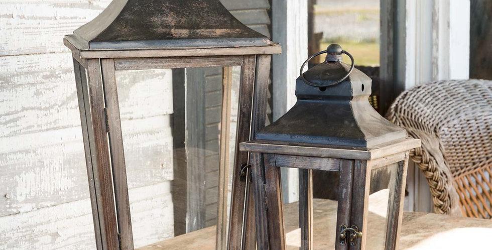 Black Top Weathered Wood Lanterns