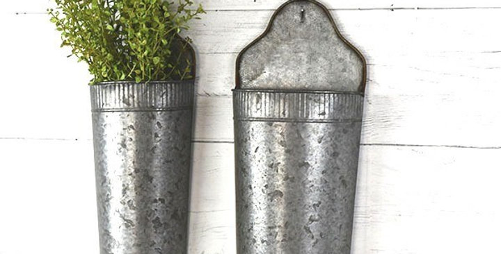 Set of Two Galvanized Wall Pockets