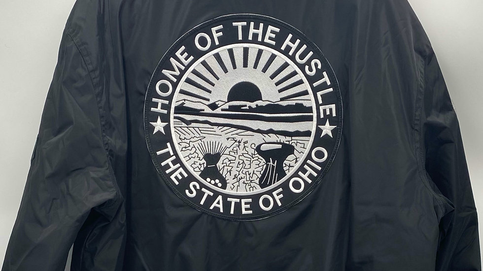 "Black ""Home of The Hustle"" Bomber Jacket"