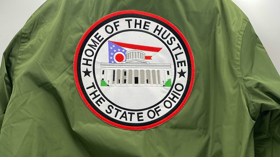 """Green """"Home of The Hustle"""" Bomber Jacket"""
