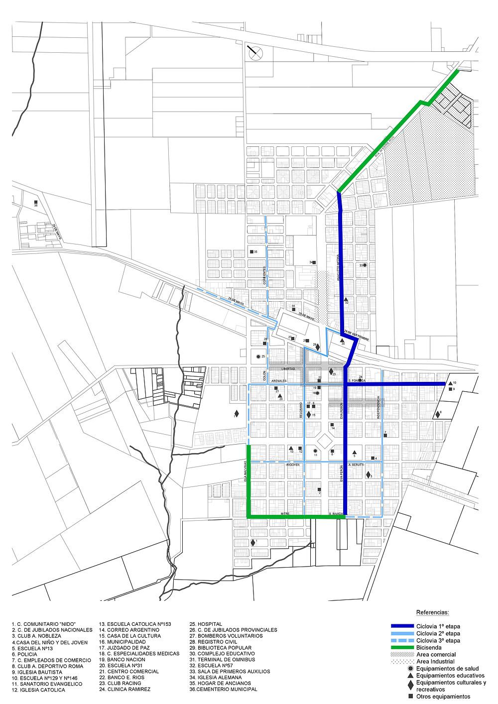 Los diferentes colores indican las diferentes etapas o conceptos. En verde las bicisendas, en azul el primer tramo de ciclovías que se realizará y en celestes los siguentes tramos de ciclovías a realizar.