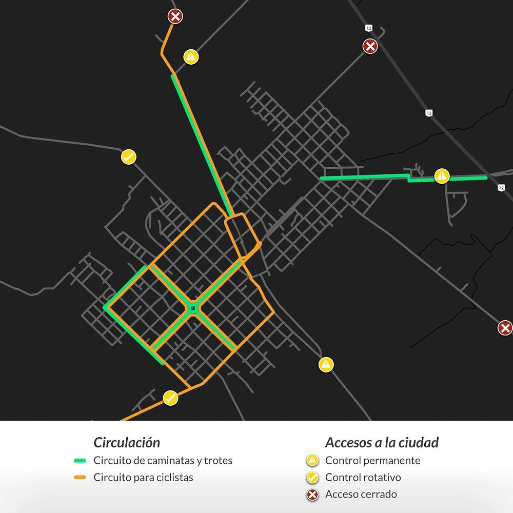 En el siguiente plano podes ver marcado el circuito para las caminatas (verde) y para circular en bicicleta (naranja).