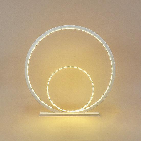 LAMPE DOUBLE CERCLE EN BOIS PEINT