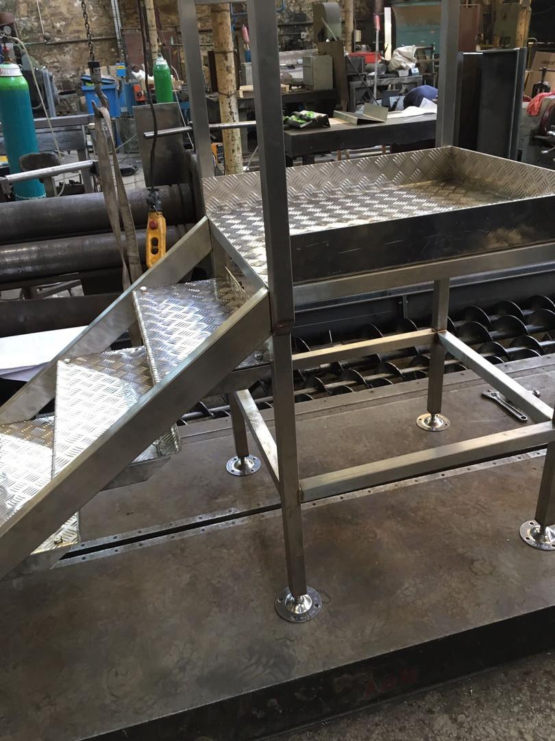 Steel steps and platform