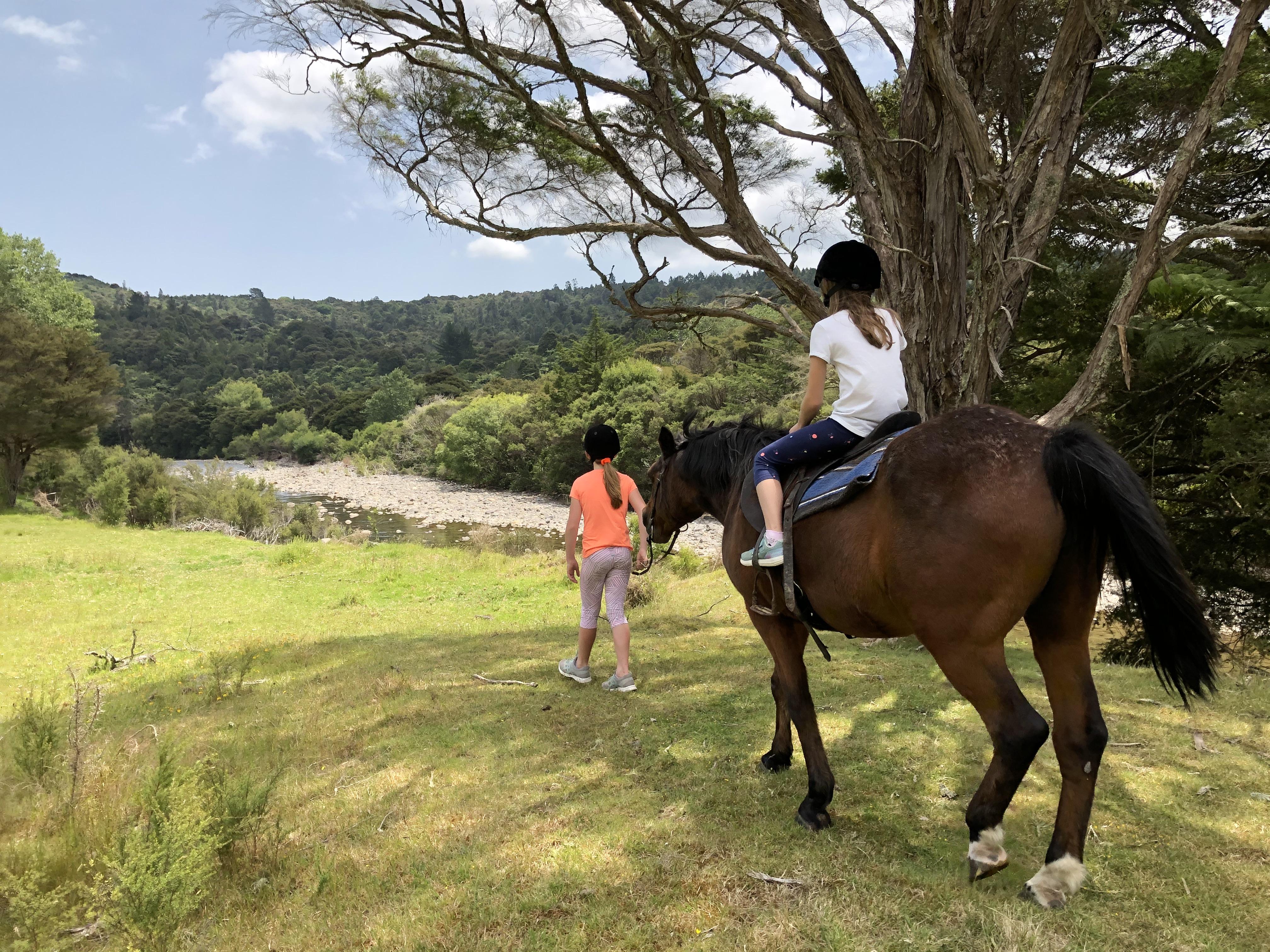 Horse riding along the river.