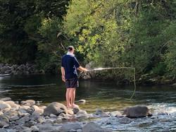 A spot of trout fishing in the Kauaeranga river.