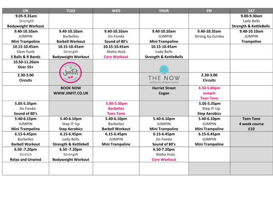Autumn/ Winter Class Timetable