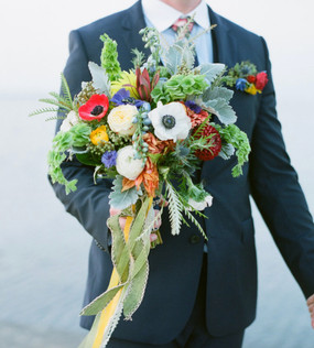 The Groom and the Bridal bouquet