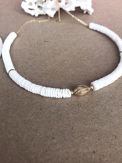 Collier HEISHI coquillage or