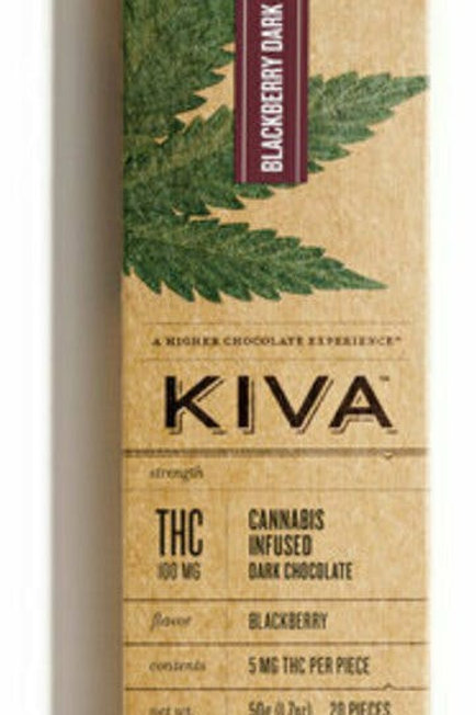 Kiva Bar  Dark Chocolate Blackberry 100mg