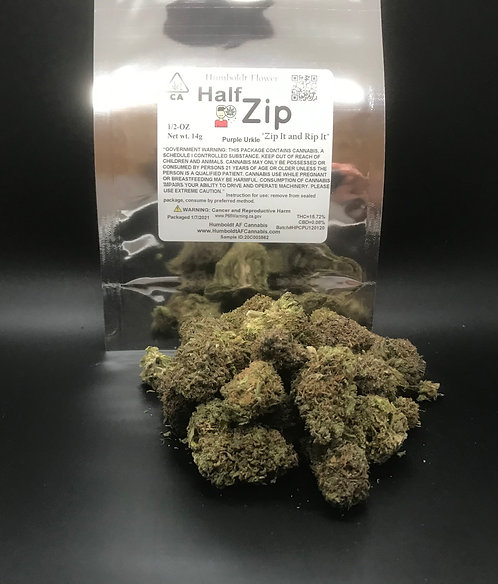 Zip Half Zip 1/2oz Purple Urkle (15.72% THC) 14g