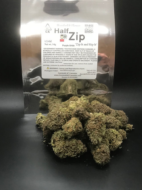 Zip Half Zip 1/2oz Purple Urkle (15.72% THC) 14g