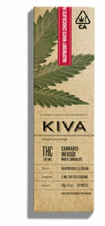 Kiva Bar  White Chocolate Raspberries and Cream  100mg