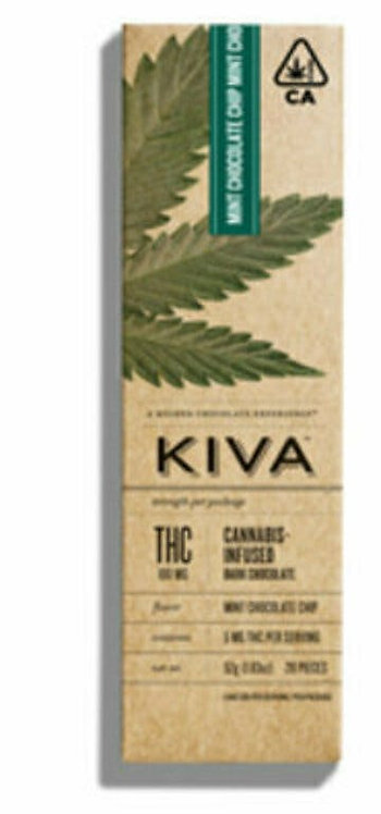 Kiva Bar  Dark Mint Chocolate Chip 100mg