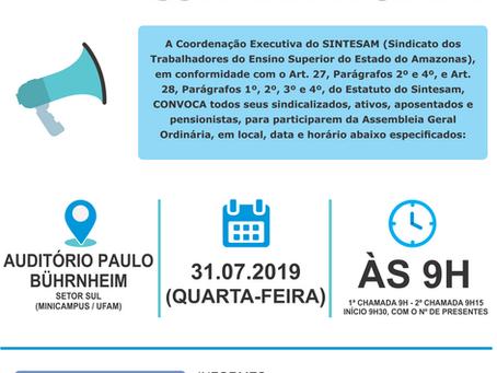 SINTESAM CONVOCA SINDICALIZADOS (AS) PARA ASSEMBLEIA GERAL