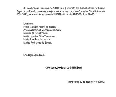 CONVOCAÇÃO: MEMBROS DO CONSELHO FISCAL SE REÚNEM NESTE SÁBADO (21)