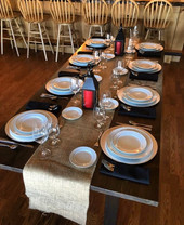 Farm Table, Platinum Band Place Settings