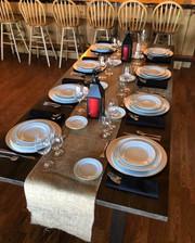 Farm Table, Platinum Band Place Settings