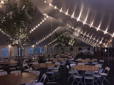 5' Round Tables, White Folding Chairs, Bistro Lighting