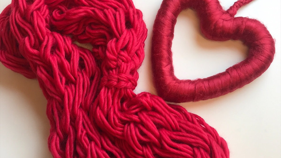 Merino double snood and bamboo fibre woollen heart wreath