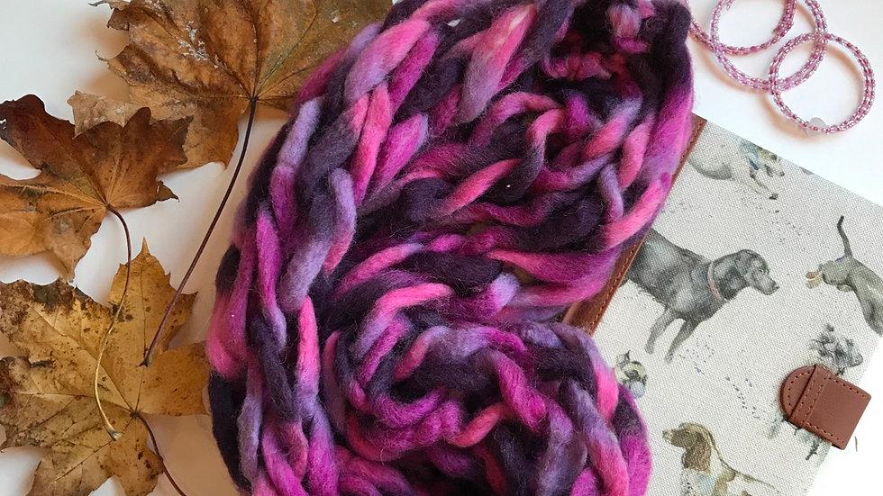 Arm knitted snood 'purple rain'