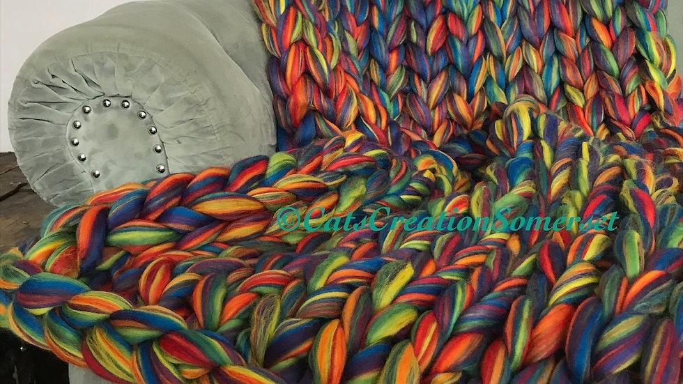 Rainbow merino blanket